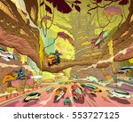 fantasy forest city. concept... | Shutterstock .eps vector #553727125