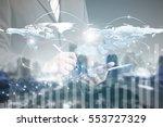 double exposure of success... | Shutterstock . vector #553727329