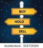 Buy Hold And Sell Signpost...