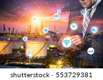 smart refinery factory and... | Shutterstock . vector #553729381