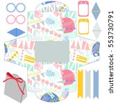 party set. gift box template.... | Shutterstock .eps vector #553730791