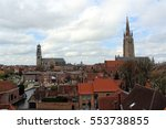 Small photo of Bruges, Belgium, April 2016. View of the city center from the roof of the beer factory De Halve Maan.