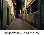 narrow street during night.... | Shutterstock . vector #553745197