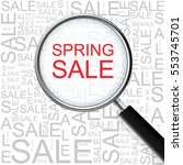 spring sale. magnifying glass... | Shutterstock .eps vector #553745701