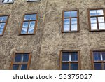 windowed house front - stock photo