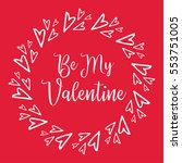 be my valentine card. happy... | Shutterstock .eps vector #553751005