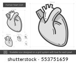 human heart vector line icon... | Shutterstock .eps vector #553751659