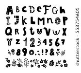 funny hand drawn font and... | Shutterstock .eps vector #553754605
