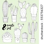 collection of hand drawn cacti... | Shutterstock .eps vector #553756327