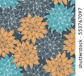 dahlia flowers  hand drawn... | Shutterstock .eps vector #553767097