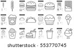 junk food vector line icon set... | Shutterstock .eps vector #553770745