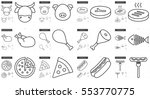 junk food vector line icon set... | Shutterstock .eps vector #553770775