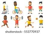 young sportsman running. happy...   Shutterstock .eps vector #553770937