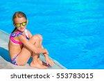 little happy girl in outdoor... | Shutterstock . vector #553783015