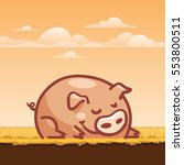 funny cartoon pig | Shutterstock .eps vector #553800511