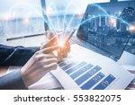 double exposure of businessman... | Shutterstock . vector #553822075