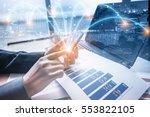 double exposure of businessman... | Shutterstock . vector #553822105