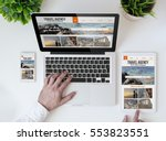 office tabletop with tablet ... | Shutterstock . vector #553823551