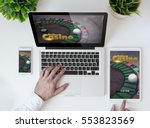 office tabletop with tablet ... | Shutterstock . vector #553823569