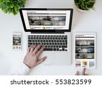office tabletop with tablet ... | Shutterstock . vector #553823599
