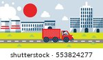 truck moving from a factory... | Shutterstock .eps vector #553824277