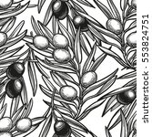 seamless pattern with olive... | Shutterstock .eps vector #553824751