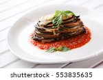 baked eggplant with parmesan... | Shutterstock . vector #553835635