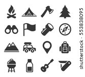 hiking and camping icons set....