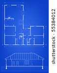 project of house in blue and... | Shutterstock .eps vector #55384012