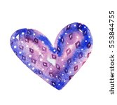 cute watercolor heart decorated ... | Shutterstock . vector #553844755