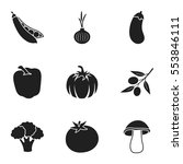 vegetables set icons in black...