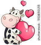 lovely chubby cow holding heart.... | Shutterstock .eps vector #553850155