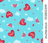 valentines day seamless pattern ... | Shutterstock . vector #553852399