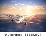 commercial airplane flying... | Shutterstock . vector #553852927