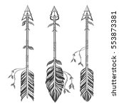 set ethnic arrows with feathers.... | Shutterstock .eps vector #553873381