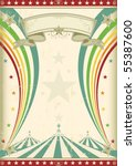 rainbow circus vintage poster.... | Shutterstock .eps vector #55387600