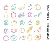 doodle line icon set. fruits... | Shutterstock .eps vector #553876909