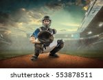 baseball players in action on... | Shutterstock . vector #553878511