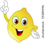 cartoon lemon pointing with his ... | Shutterstock .eps vector #55389496
