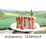 thai milk tea crepe cake with... | Shutterstock . vector #553896319