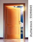opened door to blue sky with... | Shutterstock . vector #55390045