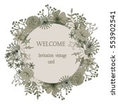 round floral greeting card | Shutterstock .eps vector #553902541
