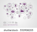 infographics map with symbols... | Shutterstock .eps vector #553908205