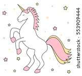 cute cartoon unicorn with pink... | Shutterstock .eps vector #553909444