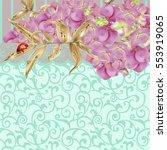 card with hydrangea flower...   Shutterstock .eps vector #553919065