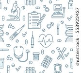 seamless pattern medical icons  ... | Shutterstock .eps vector #553922437