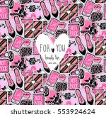vector seamless pattern with... | Shutterstock .eps vector #553924624