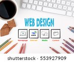 web design. white office desk... | Shutterstock . vector #553927909