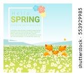 hello spring landscape... | Shutterstock .eps vector #553929985