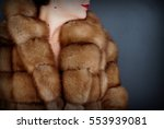 Fur Texture Close Up. Woman In...